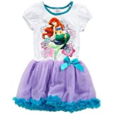 Disney Princess Ariel Short Sleeve Tutu Dress - White/Purple (Medium)