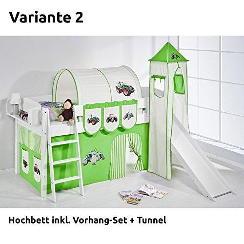 Hochbett Spielbett IDA Trecker Grün Beige, mit Turm, Rutsche und Vorhang, weiß, Variante 2 jetzt bestellen