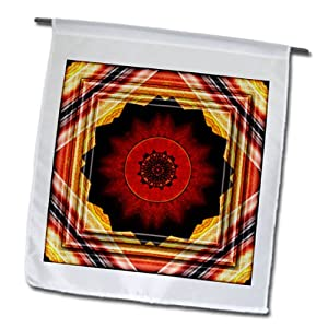 3dRose fl_26768_1 Mandala Zen Inner Balance Harmony Red/Gold Peace Energy Glowing Chakra Meditation New Age Garden Flag, 12 by 18-Inch