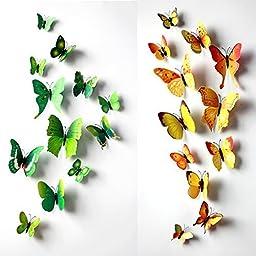 Green 24PCS 3D Butterfly Wall Stickers Decor Art Decorations 3 size