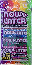 Now and Later Long Lasting Chews 6 Fun Size Bars 3.66 Oz