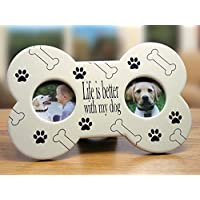 Dog Picture Frame - Dog Bone Shape Frame - Ivory and Black - Dog Bones and Paw Prints - Life Is Better with My Dog - Pet Owner, Dog Lovers, Pet Memorial, Double Picture Frame