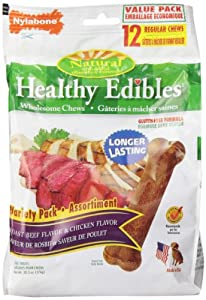 Nylabone Healthy Edibles Chicken and Roast Beef with Vitamins Dog Chew Variety Pack, Regular, 12-Count Pouch, 20.3 Ounce