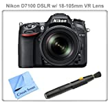 Nikon D7100 24.1 MP DX-Format CMOS Digital SLR with 18-105mm f/3.5-5.6 AF-S DX VR ED Nikkor Lens + Lens Cleaning Pen & CS Microfiber Cleaning Cloth