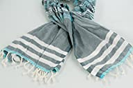 100% Cotton Pestemal (Peshtemal) Turkish Bath Towel – 39.5 X 68″ (Grey / Light Turquoise)