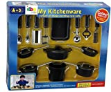 Kidoloop ChildrenToy Kitchen Utensils Accessories Cooking Play Set Kids Black 14 Pcs Set
