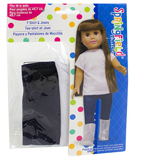 Springfield Collection by Fibre-Craft - Distressed Blue Denim Jeans and White T-Shirt - Chic, Sporty, and Versatile - Mix and Match - Fits All 18-Inch Dolls - 1