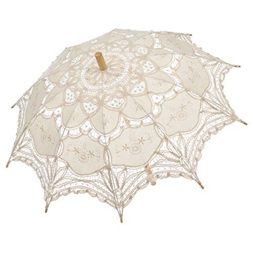 Remedios Ivory Bridal Wedding Cotton Lace Parasol Umbrella for Party Decoration 0