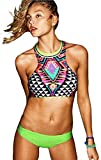 FQHOME Womens Vintage Two-piece High Neck Tankini Swimsuit Size S