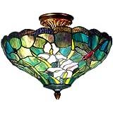 Dale Tiffany TH70098 Savannah Flush Mount Light, Antique Brass and Art Glass Shade