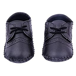 Mosunx Toddler Infant Baby Winter Cute Soft Sole Crib Boots Leather Shoes (13, Black)