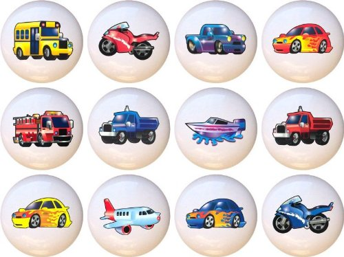 Set Of 12 Ceramic Knobs - Transportation Kids Art front-15214