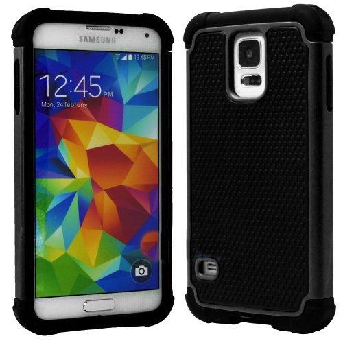 Mylife (Tm) Black - Free Flex Series (2 Layer Neo Hybrid) Slim Armor Case For The New Galaxy S5 (5G) Smartphone By Samsung (External Rubberized Hard Shell Flex Piece + Internal Soft Silicone Flexible Bumper Gel)