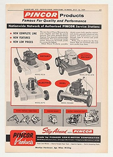 1959 Pincor Rotary Self-Pro Electric Reel Lawn Mower Print Ad