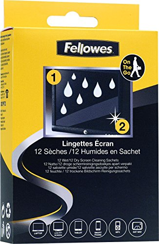Fellowes Screen Cleaning Wipes 12 Foil Packs - Pre Moistened