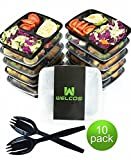 Welcos 3 compartment Food Storage Containers with Lids and Cutlery, 36 oz (10 Pack)