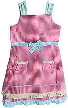 BT Kids Little Girls39 1 Piece Pink Gingham Seersucker Sundress Dress Petticoat