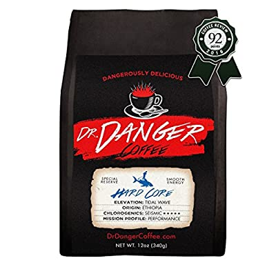 Dr Danger HARD CORE Coffee - ideal for training, fitness and competition - Scientifically selected and roasted special reserve Whole Bean- 12oz
