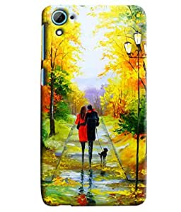Blue Throat Two Lover Walking With Love Painting Printed Designer Back Cover For HTC Desire 826