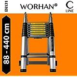 WORHAN® Echelle 4.4m Télescopique Aluminium Anodisé Modulable Pliable Polyvalente Escabeau Solide 440cm (4.4m C-Line) K4.4C