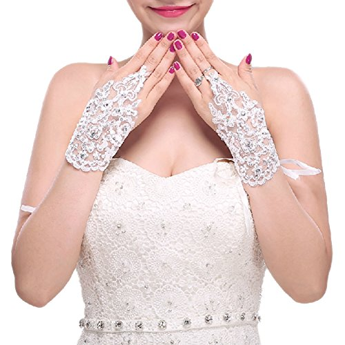 The Bride Marriage Dress Wedding Special Lace Short Gloves Wedding Gloves White