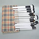 Boboshop 20pcs Wooden Makeup Brush Set White Handle Nylon Brush With Grid Pattern Cosmetic Bag