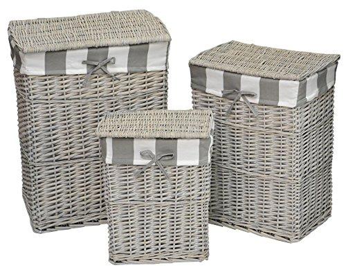 Set di 3 ceste in legno per bucato - in vimini lasuré colore: grigio tortora - fodera rimovibile in cotone a righe colore: GRIGIO TALPA / BIANCO .
