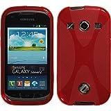 Silikon Hülle für Samsung Galaxy Xcover 2 - X-Style rot - Cover PhoneNatic Schutzhülle + Schutzfolien