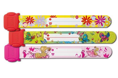 Sigel SY391 Kinder-Sicherheits-Armband Set für Mädchen, Motive: Ballerina, Schmetterling, Blumen zum Beschriften, 3 Stück, 19.7 cm