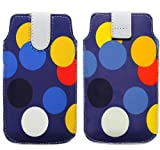 Wayzon Premium Eco PU Leather Secure Protection Pouch Holster Case Cover Sleeve Skin Wallet Multicoloured Circles On Blue Surface For Blackberry Curve 9320