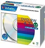 三菱化学メディア Verbatim DVD-RW 4.7GB くり返し記録用 2-4倍速 5mmケース 10枚パック シルバーディスク DHW47Y10V1
