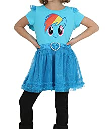 FREEZE Little Girls\' My Little Pony Rainbow Dash Tunic with Ruffles and Wings, Blue, 6X