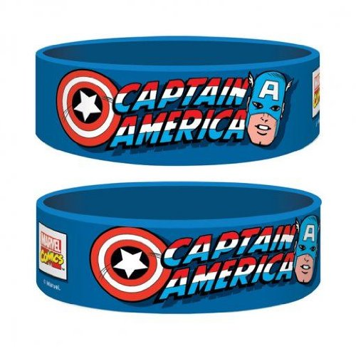 Official Marvel Captain America Gummy Wristband - Blue