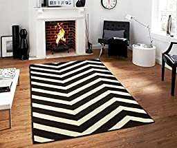 Century Collection Chevron Rugs Large 8x11 Black and White Indoor Outdoor Area Rug, 8 feet by 11 feet Black Carpet 8x10 Rugs For Living Room (8\' x 11\')