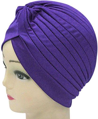 Skull Shower Cap Girl Blue Violet Indian Hat Beanie Hair Hoop (Violet The Clown)