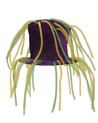 Jacobson Hat Company Men's Crazy Velvet Mardi Gras Top Hat with Tubes, Purple, One Size