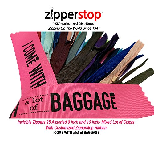 "Lowest Price! Zipperstop Wholesale YKK®- 9"" & 10"" Invisible Zippers 25 Assorted 9 Inc..."