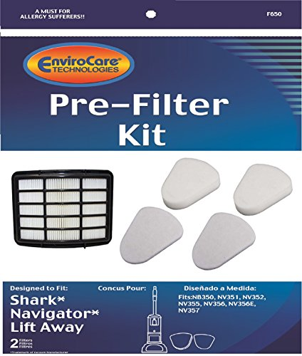2 Shark Navigator Lift-Away NV350, NV351, NV352, NV355, NV356, NV356E, NV357 Pre-Filter Kits (Containing 2 Foam and 2 Felt Filters) + 1 Hepa Filter Replaces Shark Part # XFF350 & # XHF350 (Shark Hepa Filter Nv356e compare prices)