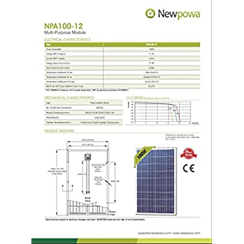 Newpowa 100 Watts 12 Volts Polycrystalline Solar Panel 100W 12V High Efficiency Module Rv Marine Boat Off Grid