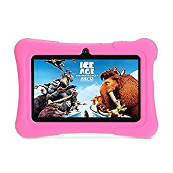 iClever 7 inches Quad Core Android Kids Tablet with WiFi, Camera and Games, Pink