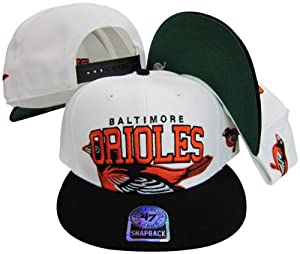 Baltimore Orioles Two Tone Big Logo Plastic Snapback Adjustable Plastic Snap Back Hat... by Twins