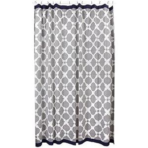 Jonathan Adler Hollywood Shower Curtain, Grey/Natural