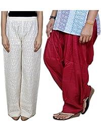 IndiWeaves Women Full Cotton Chikan Cream Palazzo With Cotton Maroon Full Patiala Salwar - Free Size (Pack Of 1 Palazzo With 1 Patiala Salwar)