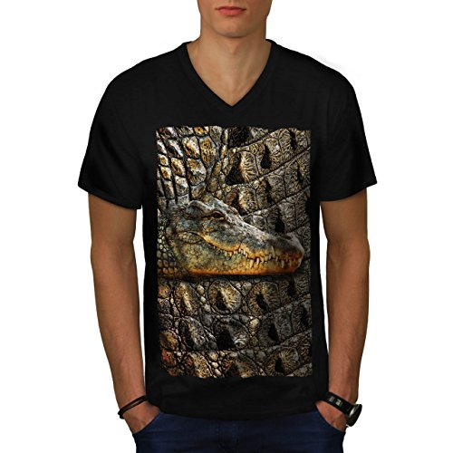 crocodile-peau-impression-reptile-homme-nouveau-noir-xxl-t-shirt-wellcoda