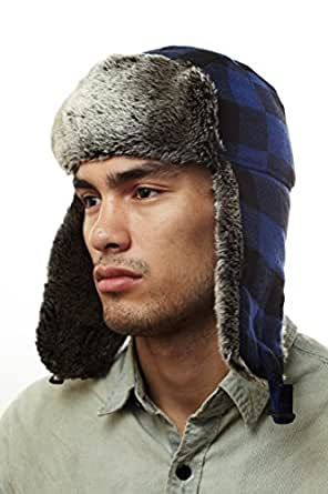 W220E RoyalBlue Buffalo Plaid Checker Pilot Trapper Hat with Soft Faux Fur for Womens and Mens one size fits up to a large head