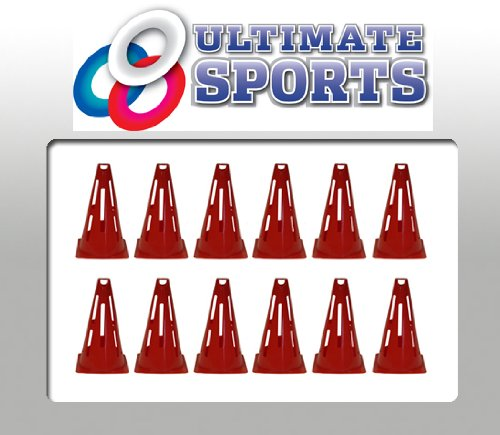 SET OF 12 RED TRAFFIC CONES FOOTBALL TRAINING CONES