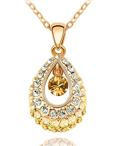 Swarovski Elements Crystal Princess Teardrop Pendant Necklaces In Eight Colors-47 cm Chain
