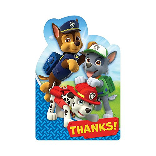 Amscan Amazing Paw Patrol Birthday Postcard Thank You Party Supplies (8 Piece), Blue/Red, 6 1/4 x 4 1/4""