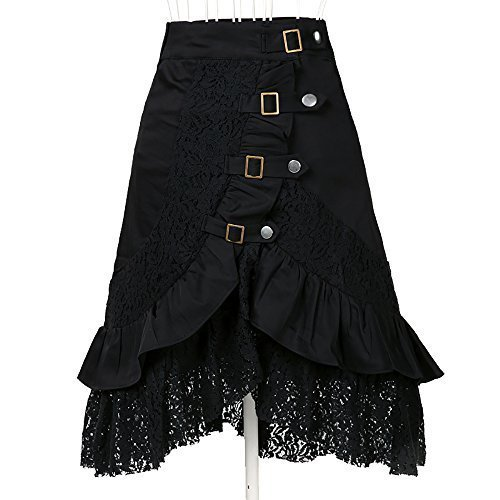 Women's Steampunk Gothic Clothing Vintage Cotton Lace Skirts Black Gypsy Hippie X-Large