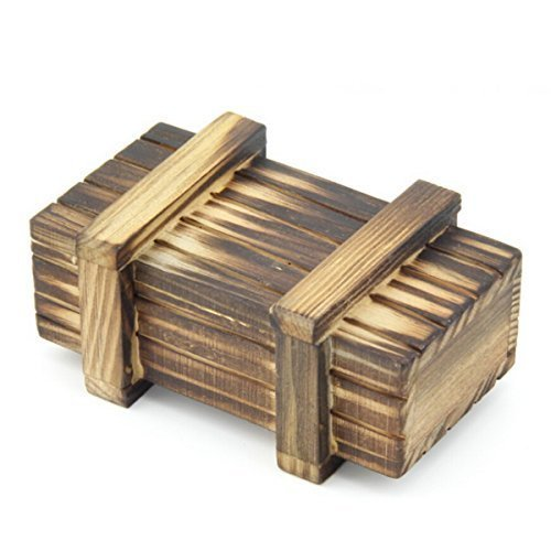 KINGOU Wooden Oldest China Traditional Brain Teaser Logic Puzzle Burr Puzzles Magic Single Open Box Gift Box